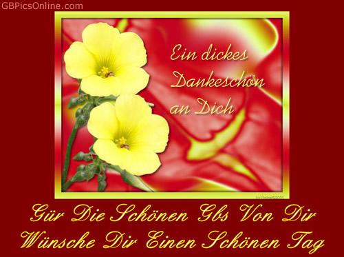 Ein dickes Dankeschön an Dich. Für die schönen GBs von Dir wünsche Dir einen schönen Tag.