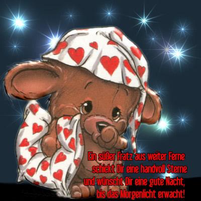 Ein süßer Fratz aus weiter Ferne schickt Dir eine handvoll Sterne und wünscht Dir eine gute Nacht, bis das Morgenlicht...
