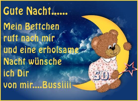 Gute Nacht... Mein Bettchen ruft mach mir und eine erholsame Nacht wünsche ich Dir von mir... Bussiii