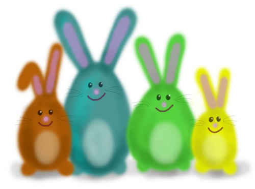 Vier eierförmige Hasen