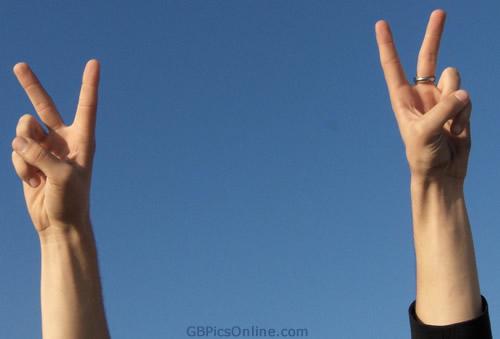 Zwei Hände zeigen das...