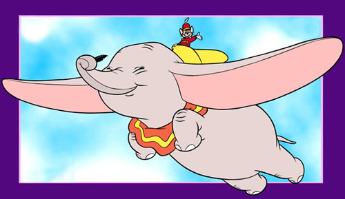 Dumbo fliegt mit Passagier...