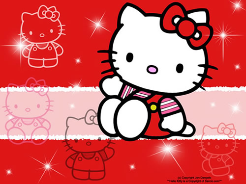 "Süße ""Hello Kitty"" winkt"