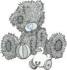 Schwarz-Weiß-Zeichnung eines spielenden Teddybärs
