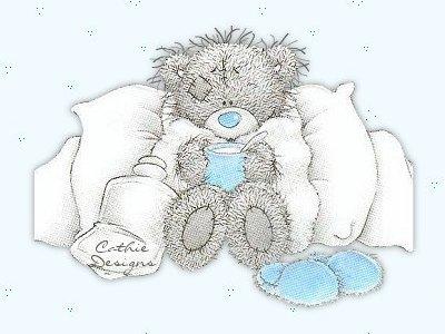 Teddybär liegt krank im...