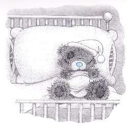 Teddybär versucht zu schlafen