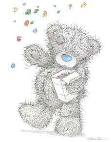 Fröhlicher Teddybär wirft mit Konfetti