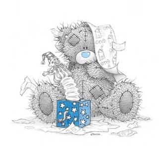 Chaotischer Teddybär spielt mit Aufziehkasper