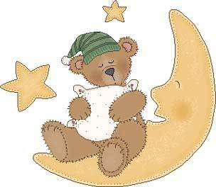 Teddybär schlummert auf dem Mond
