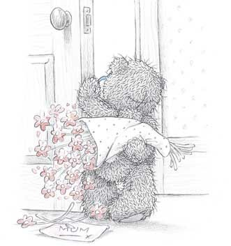 Teddybär versucht, heimlich einen Blumenstrauß zu überbringen