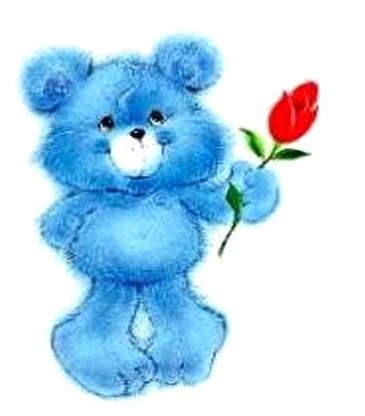 Eisblauer Teddybär überreicht nervös eine Rose