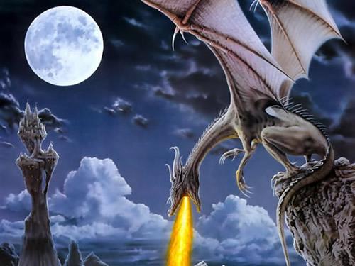 Drachen im Mondschein