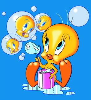 Tweety bläst Seifenblasen