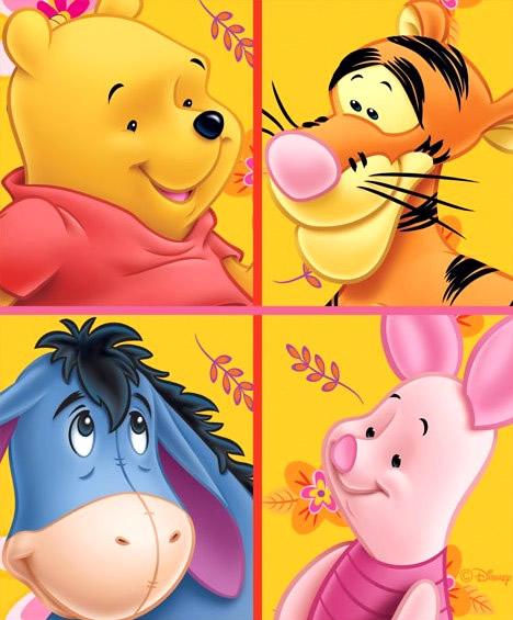 Winnie Pu und drei seiner Freunde