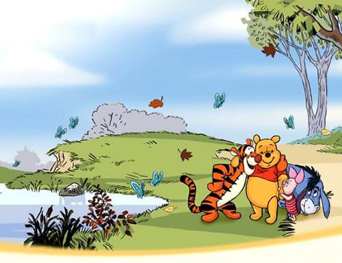 Winnie Puuh und seine Freunde an windigem Seeufer