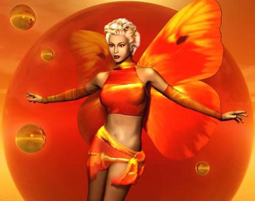 Fee mit orangenen Flügel