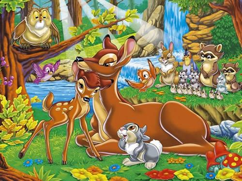 Bambi kuschelt mit seiner Mutter