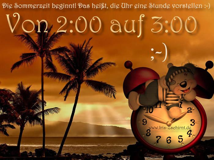 Die Sommerzeit beginnt! Das heißt, die Uhr eine Stunde vorstellen :-) Von 2:00 auf 3:00 ;-)