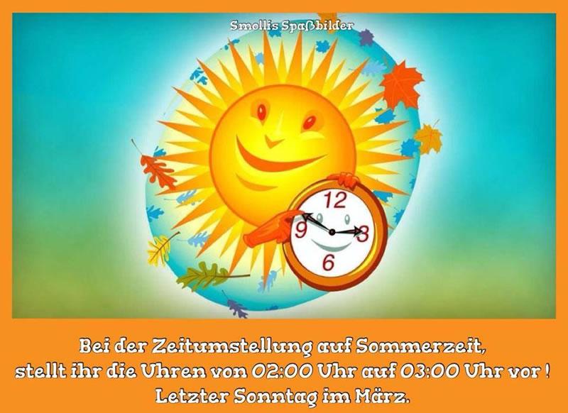 Bei der Zeitumstellung auf Sommerzeit, stellt die Uhren von 2:00 Uhr auf 3:00 Uhr vor! Letzter Sonntag im März.