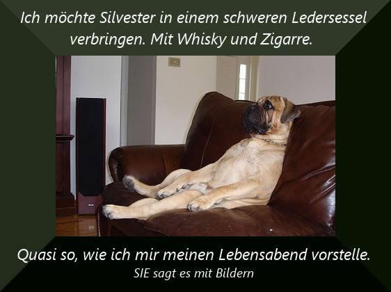 Ich möchte Silvester in einem schweren Ledersessel verbringen. Mit Whisky und Zigarre. Quasi so, wie ich mir meinen...