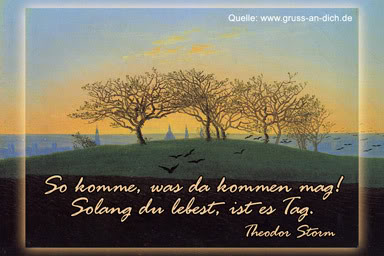 """So komme, was da kommen mag! Solang du lebest, ist es Tag."" - Theodor Storm"