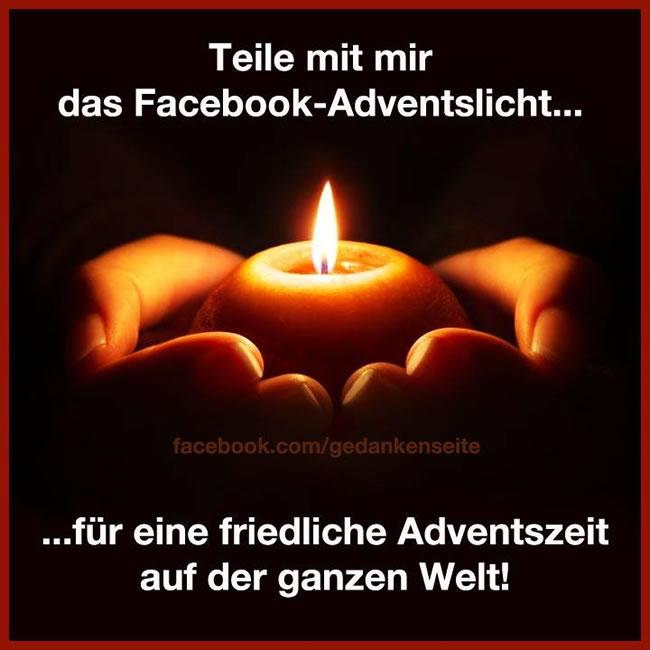 Teile mit mir das Facebook-Adventslicht... für eine friedliche Adventszeit auf der ganzen Welt!