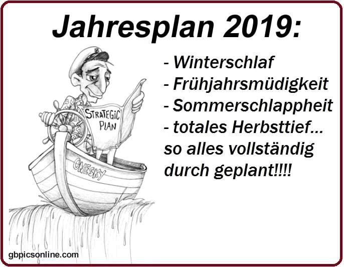 Jahresplan 2019: - Winterschlaf - Frühjahrsmüdigkeit - Sommerschlappheit - totales Herbsttief... so alles vollständig...