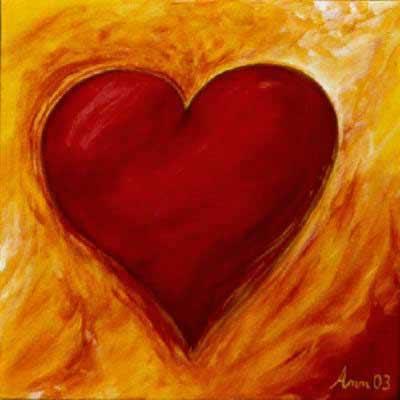 Malerei eines Herzens im Feuer