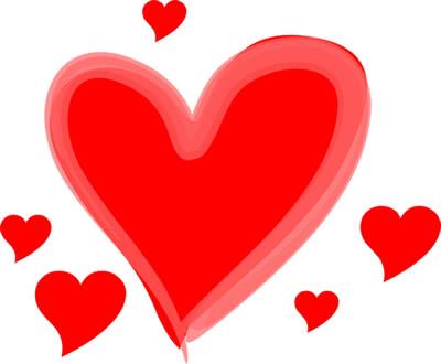 Sechs rote Herzen in geneigter...
