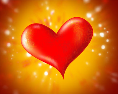 Herz vor orangenem Hintergrund