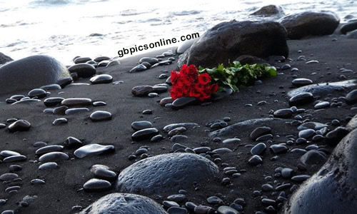 Romantische Überraschung am Strand ist...