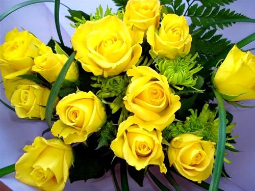 Heller Strauß aus gelben Rosen