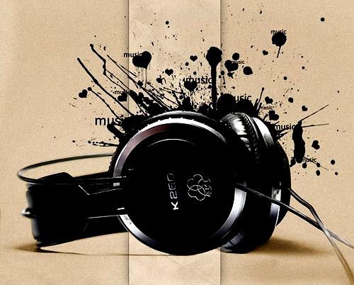 Kopfhörer vor Farbklecks