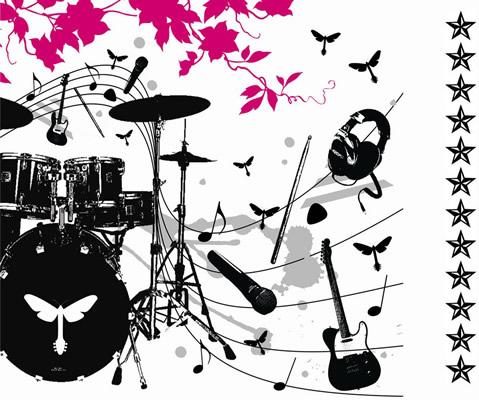 Musikequipment unter rosanem...