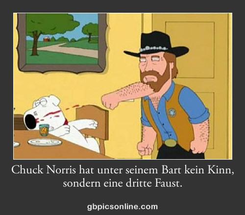 Chuck Norris hat unter seinem Bart kein Kinn, sondern eine dritte Faust.