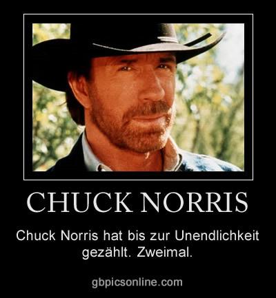 Chuck Norris hat bis zur Unendlichkeit gezählt. Zweimal.