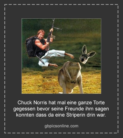 Chuck Norris hat mal eine ganze Torte gegessen bevor seine Freunde ihm sagen konnten dass da eine Striperin drin war.