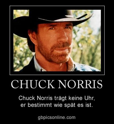 Chuck Norris trägt keine Uhr, er bestimmt wie spät es ist.