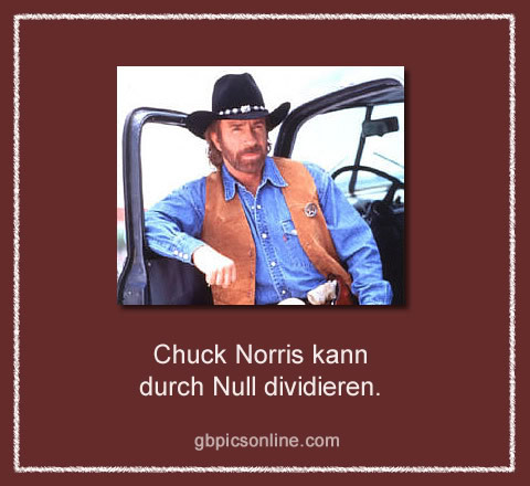 Chuck Norris kann durch Null dividieren.