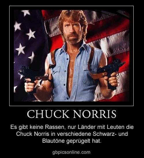 Es gibt keine Rassen, nur Länder mit Leuten die Chuck Norris in verschiedene Schwarz- und Blautöne geprügelt hat.