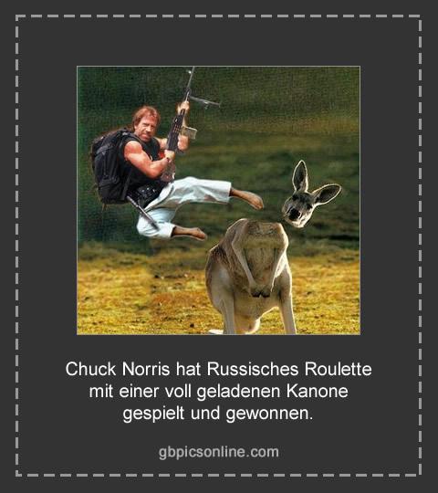 Chuck Norris hat Russisches Roulette mit einer voll geladenen Kanone gespielt und gewonnen.
