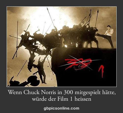 Wenn Chuck Norris in 300 mitgespielt hätte, würde der Film 1 heissen.