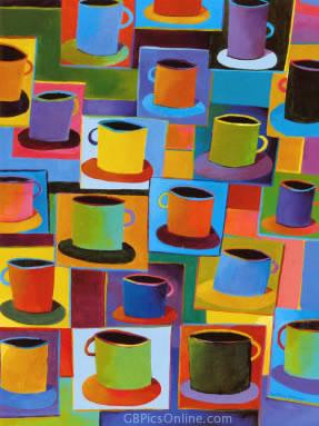 Bunte Kaffeetassen-Portraits