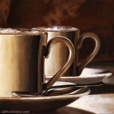 Frischer Kaffee in Gemälde eingefangen