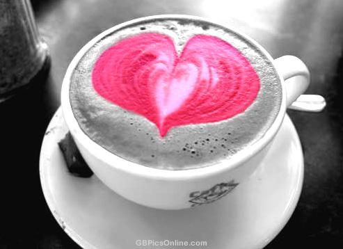 Kaffee mit großem Herz