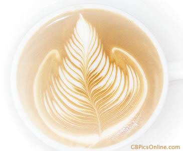Blatt als Latte-Art