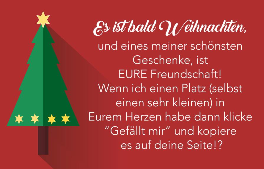Es ist bald Weihnachten, und eines meiner schönsten Geschenke, ist EURE Freundschaft! Wenn ich einen Platz (selbst einen...