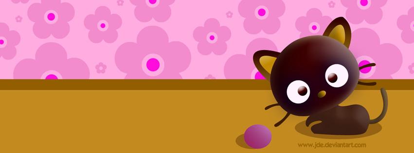 Niedliche Cartoon-Katze spielt mit lilanem Knäuel