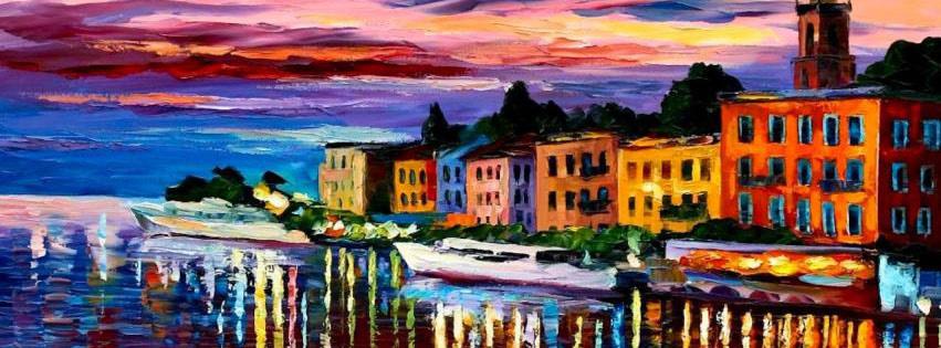 Gemälde einer Küstenstadt