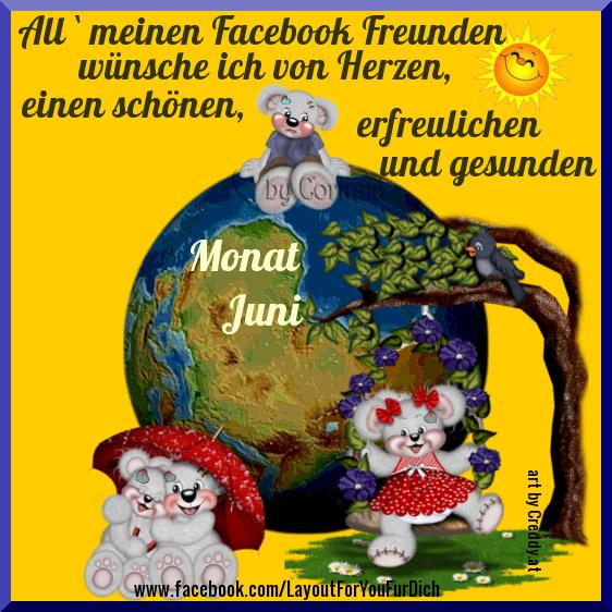 All' meinen Facebook-Freunden wünsche ich von Herzen einen schönen, erfreulichen und gesunden Monat Juni.